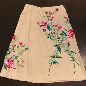 French Connection beige/floral embroidered skirt
